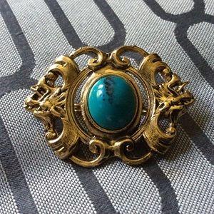 Vintage Antique Brushed Turquoise Brooch